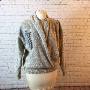 Vintage 80's gray wrap sweater w rolled collar